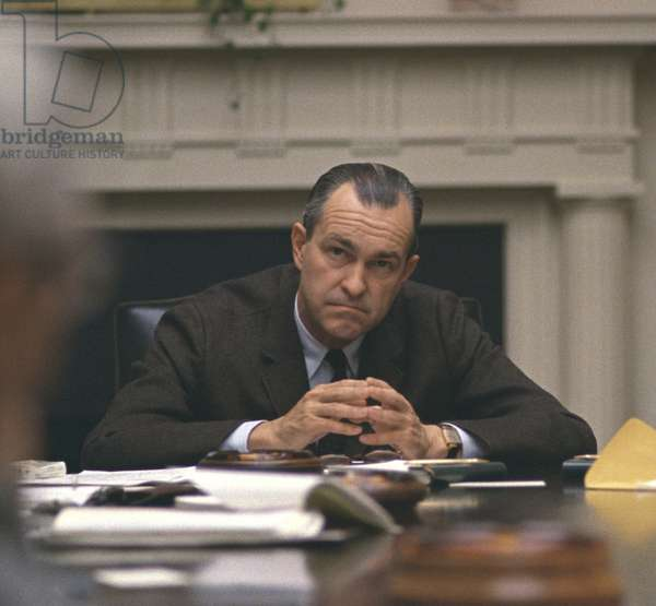 CIA Director Richard Helms (1913-2002) at meeting in the White House Cabinet Room, March 27, 1968. After serving as CIA director from 1966 to 1973, he was ambassador to Iran until Dec. 1976