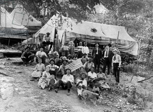 Group of striking union miners and their families living in tents, Lick Creek, West Virginia, photo c. April 12, 1922