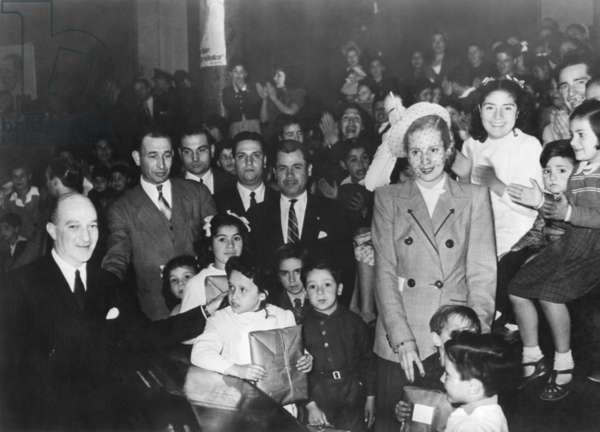 First Lady Eva Peron, distributing gifts to children at the Eva Peron Foundation. With this organization, founded on July 8, 1948, she displaced the society women who previously ran Argentine charitable organizations.