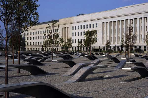 The Pentagon Memorial honoring the 184 people killed at the Pentagon and on American Airlines Flight 77 during the Sept. 11 2001 terrorist attacks was dedicated on Sept. 11 2008, photo by:Everett Collection
