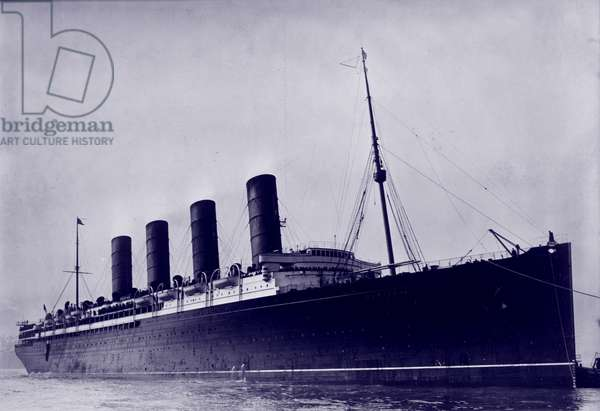 The RMS Lusitania, British ship torpedoed by a German submarine during World War I, c.1907-1915