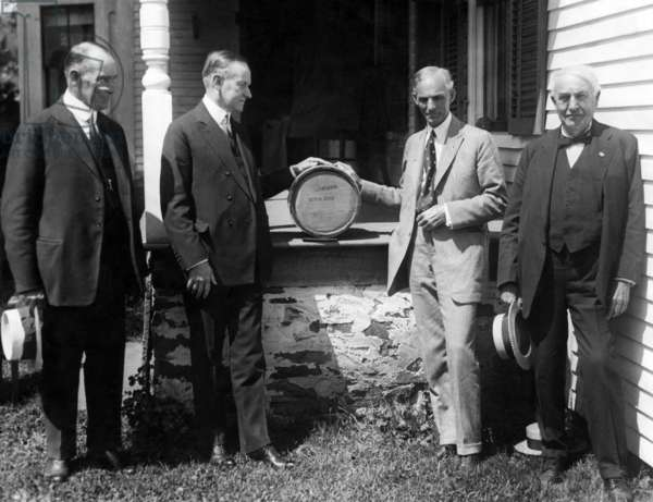 Col. John Coolidge, President Calvin Coolidge, Henry Ford, and Thomas Edison, at the Coolidge Farmhouse in Plymouth, Vermont. c. 1923-1926