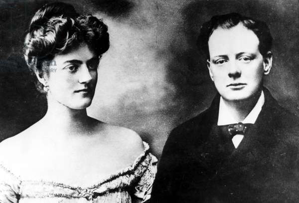 Clementine Hozier with fiancee Winston Churchill, one week before their marriage in 1908