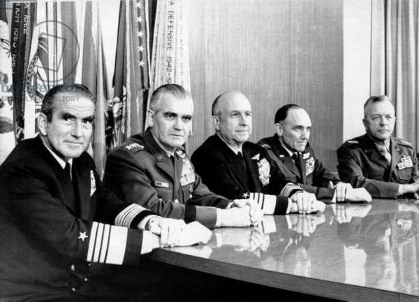 The Joint Chiefs of Staff at the Pentagon. From left: Admiral Elmo Zumwalt, Jr., Navy; General William Westmoreland, Army; Admiral Thomas Moorer, chairman, Joint Chiefs of Staff; General John DeRyan, Air Force; General Leonard Chapman, Jr., Marine Corps, Washington, DC, January 4, 1971