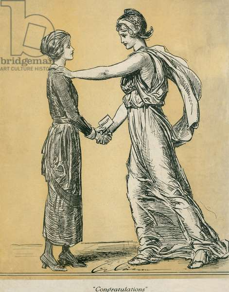 Magazine cover commemorating the final ratification of the 19th amendment granting women the right to vote. LIFE magazine, June 28, 1920