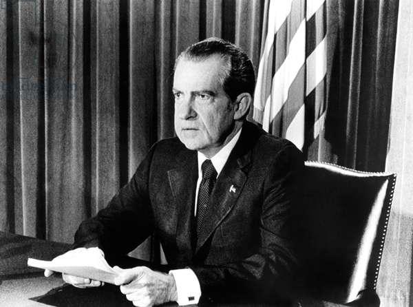 President Richard Nixon announcing his resignation, 08/08/74