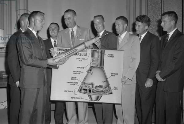 Senate Majority Leader, Lyndon Johnson, posing with U.S. Mercury astronauts, 1959