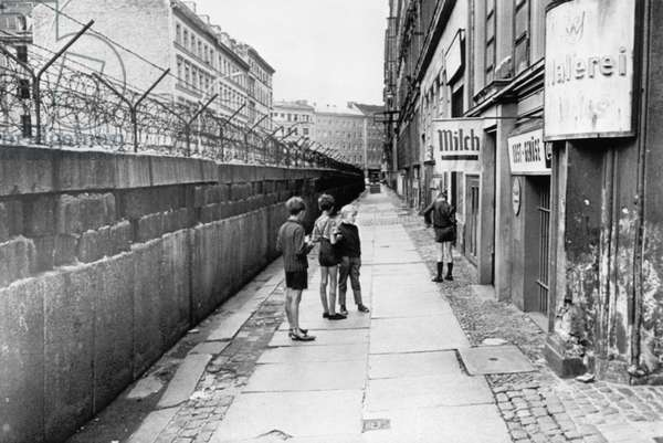 The Berlin Wall, separating West Berlin and East Berlin, five years after being built, c.1966