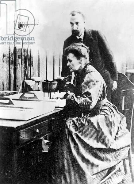 Marie and Pierre Curie, shown in their Paris laboratory in 1904.