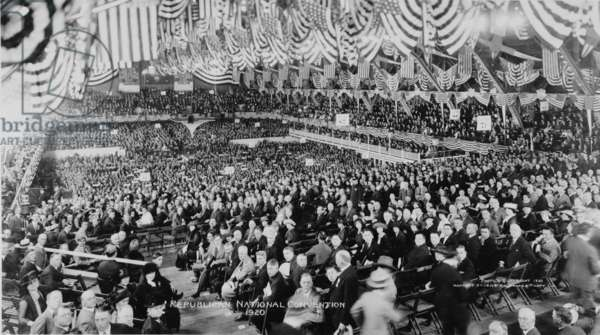 1920 Republican Convention nominated Warren Harding. Broad view of convention delegates at Chicago convention