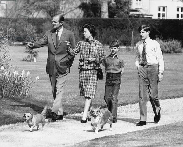 British Royal Family. From left: Prince Philip, Duke of Edinburgh, Queen Elizabeth II of England, future Earl of Wessex Prince Edward, future Duke of York Prince Andrew, Windsor Castle, England, 1973