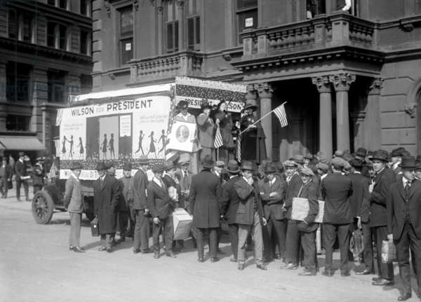 Woodrow Wilson (1856-1924) 1912 presidential campaign. Wilson Women's Wagon complete with trumpeters campaigns in New York City,