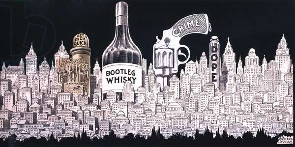 Winsor MaCay 1920's cartoon depicts a cityscape of Bootleg Whisky Crime Dope and Get Rich Quick money lust
