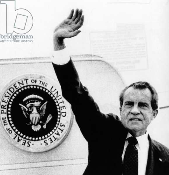 The Presidential Seal at his shoulder for the last time, President Richard Nixon exits Washington. August 9, 1974