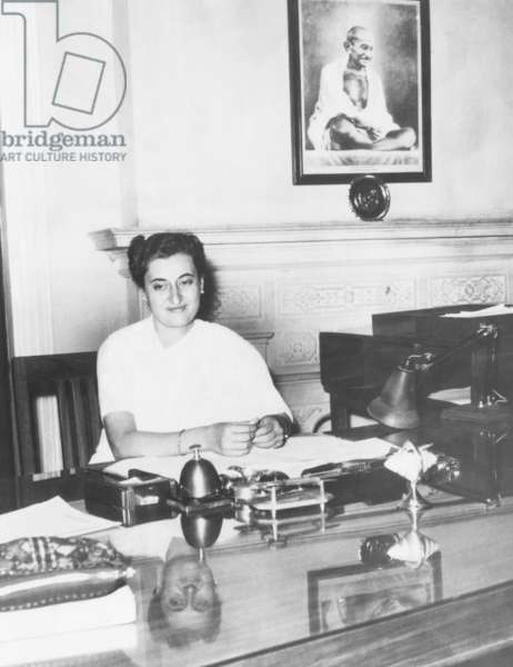Indira Gandhi, was the first woman President of India's ruling National Congress Party. Feb. 17, 1959. The 42 year old daughter of Prime Minister Jawaharlal Nehru, displayed a portrait of Mahatma Gandhi, (no relation), in her New Delhi office