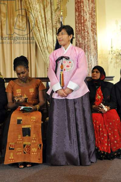 Dr. Lee Ae-ran was a political prisoner with her parents for 8 years as a teenager in North Korea. After she fled to South Korea with her child she became an activist for other women refugees. On March 10 2010 she was honored with the 2010 International (BSWH_2011_8_15)