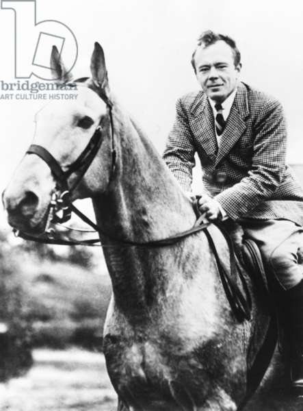Lewis W. Hill Jr., Grandson of James J. Hill, riding his horse, King of the Northwest. May 5, 1936. He was running for the Minnesota legislature from that so-called 'Silk Stocking' Ward of St. Paul. He won the election and served in the Minnesota House of Representatives until 1951. An heir to the Great Northern Railway fortune, he focused his philanthropy to his home city and state
