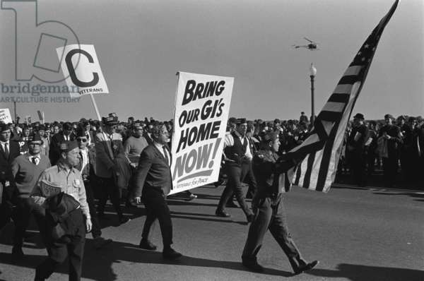 March on the Pentagon. Vietnam War Veterans join the anti-Vietnam War protests in Washington, DC. Their poster reads, 'Bring Our GIs Home Now!' October 21, 1967