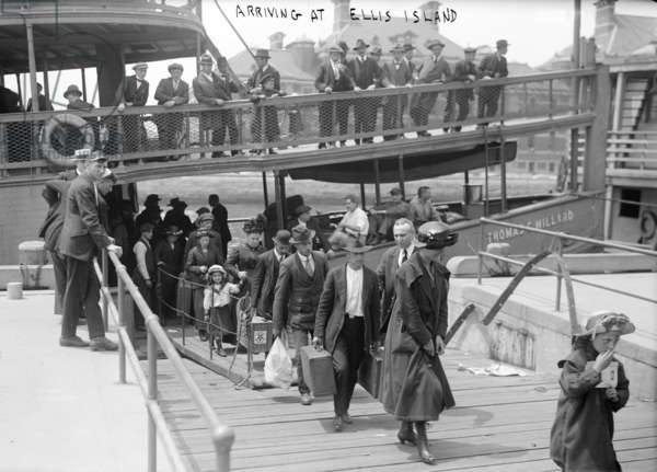 European immigrants disembarking at Ellis Island, c. 1907