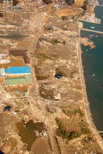 An aerial view of tsunami damage north of Sendai Japan on March 13 2011 two days after the 9.0 magnitude earthquake and tsunami of March 11.,