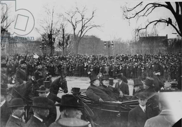 President William Howard Taft (1857-1930) and President Elect Woodrow Wilson (1856-1924) arrive at inaugural ceremonies on March 4, 1913 in open carriage