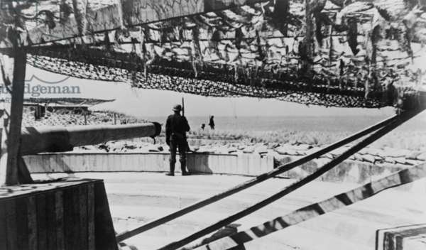 German soldiers guarding camouflage covered gun batteries on the Atlantic Wall. c. 1943-44. World War 2