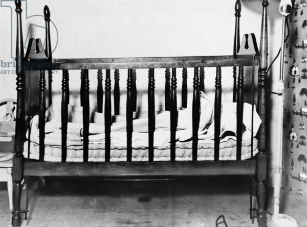 The empty crib of Charles A. Lindbergh Jr. after his kidnapping on March 1, 1932