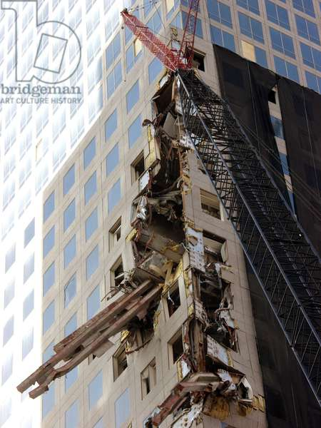 Steel beams of the North Tower embedded in the side of the World Financial Center. Oct. 12, 2001. New York City, after September 11, 2001 terrorist attacks