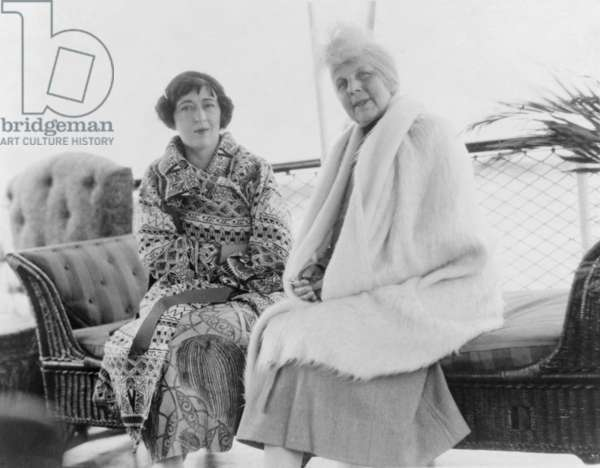 First Lady Florence Harding (1860-1924), seated on sofa with her best friend, Evalyn Walsh McLean, owner of the Hope Diamond and wife of Edward McLean, owner of the WASHINGTON POST. c. 1920
