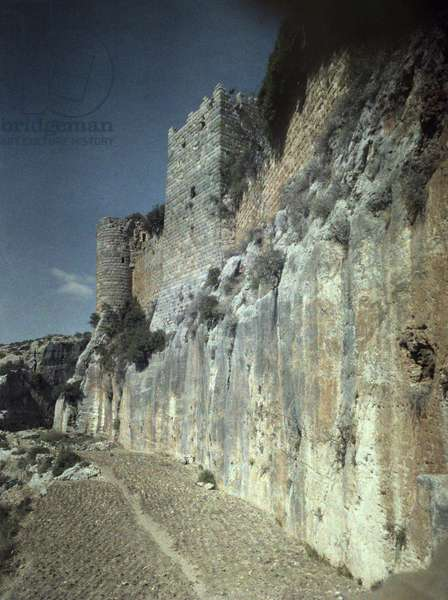 Moat of Saladin's Castle, a Byzantine Castle once occupied by Crusaders, Syria, Lumiere colorfilm, c.1934-1939