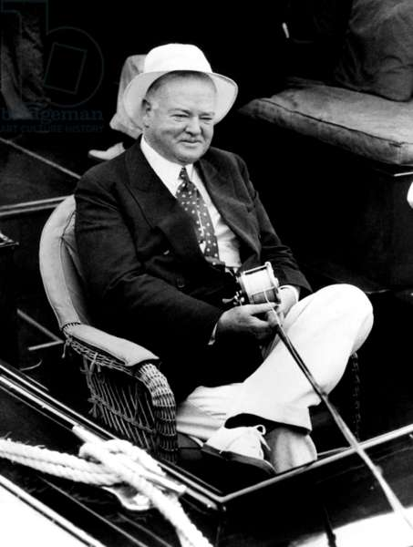 Former President Herbert Hoover fishing at Miami Beach. ca 1936.