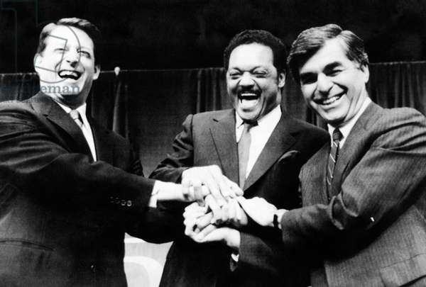 US Elections. From left: US Senator (and future Vice President) Al Gore, Reverend Jesse Jackson, Massachusetts Governor (and future Democratic party presidential nominee) Michael Dukakis before Democratic party presidential debate, Madison Square Garden, New York City, New York, 1988