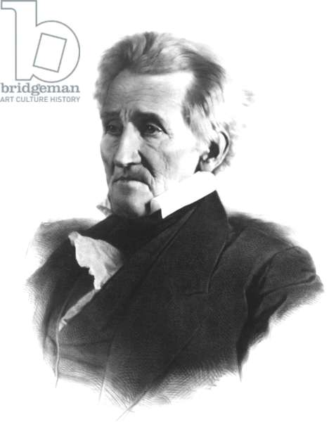 Andrew Jackson (1767-1845) 7th U.S. President, 1856 Lafosse lithograph after Mathew Brady daguerreotype.