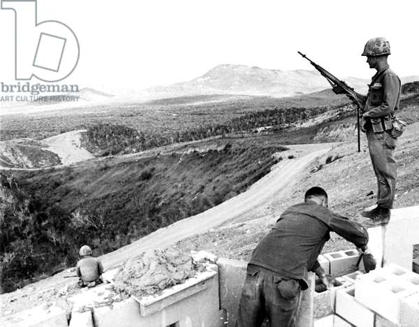 Cuban Missile Crisis, U.S. Marines fortifying 'Suicide Ridge' at the Guantanamo Naval Base, Cuba, November 16, 1962
