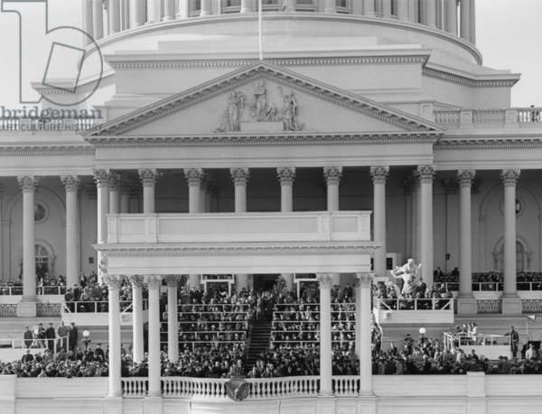 View of the President Harry Truman delivering his inaugural address. Jan. 20, 1949.