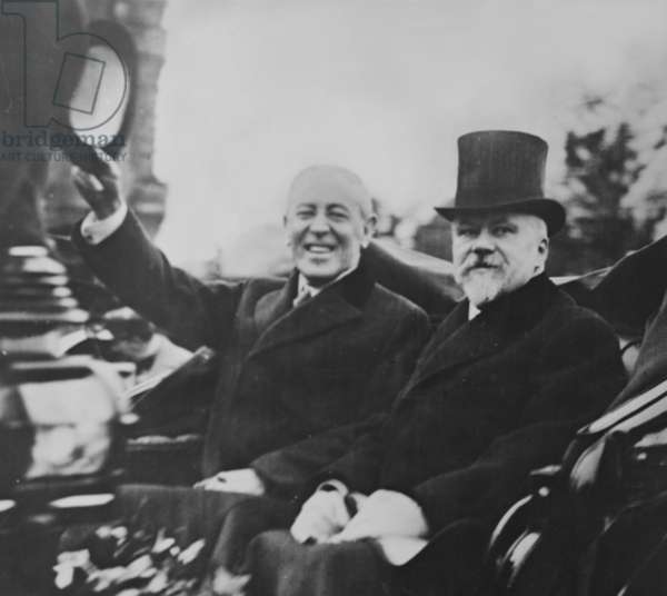Woodrow Wilson (1856-1924) and Raymond Poincaré (1860-1934), then President of France. 1919 photo taken during Wilson's European tour to attend the Versailles Peace Conference