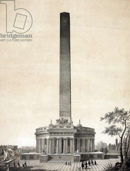 Washington Monument. Print showing the Washington Monument as designed by Robert Mills above a bust portrait of George Washington. Includes printed inscription: