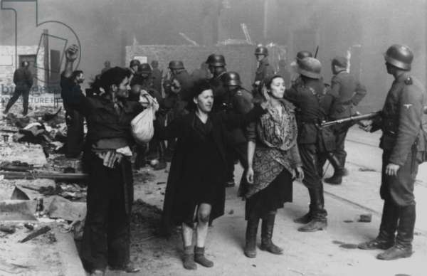 Polish Jews under arrest during the Warsaw Ghetto Uprising, April 19-May 16, 1943. Photo from the World War 2 report of SS officer Jürgen Stroop to Heinrich Himmler was captioned, 'These bandits resisted by force of arms.'