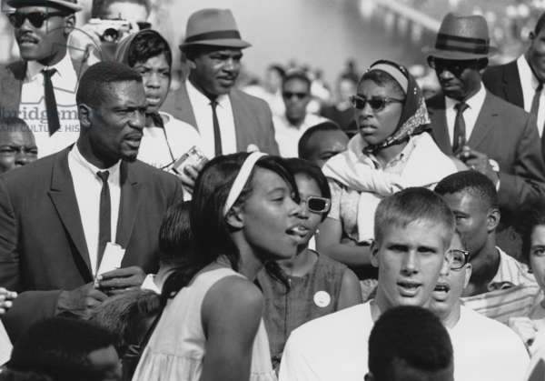 Basketball player, Bill Russell (left) at the 1963 Civil Rights March on Washington. Aug. 28, 1963
