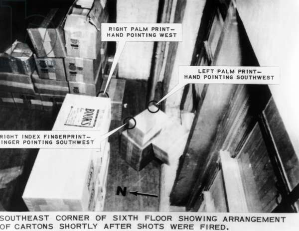 Warren Commission Exhibit. Lee Harvey Oswald's Sniper's nest. JFK's assassin left forensic evidence on the cartons in the southeast corner of the sixth floor of the Texas School Book Depository in Dallas. Nov. 22, 1963
