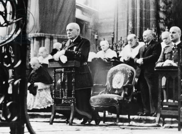 Marshall Petain, head of France's Vichy Government, at Armistice Day services, Claremont Cathedral. Nov. 11, 1940