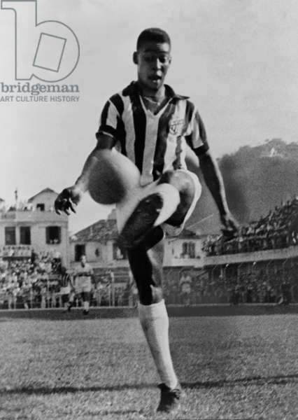 Pele (b. 1940), the Brazilian soccer player in 1965, at the height of his long career which included three World Cup championships