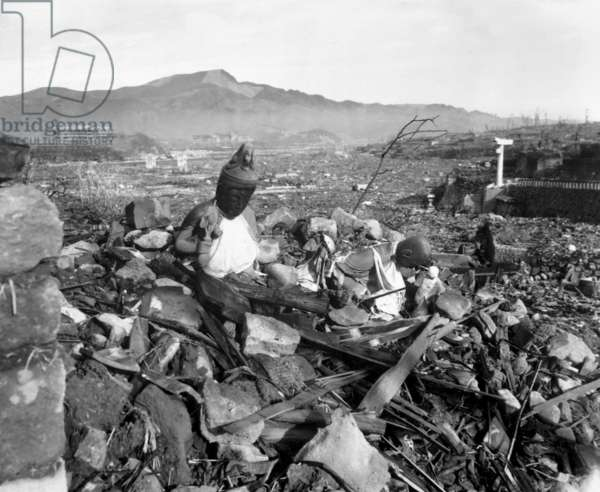 Ruins of Nagasaki, Japan, after atomic bombing of August 9, 1945. Battered religious figures are amid the rubble. Sept. 24, 1945