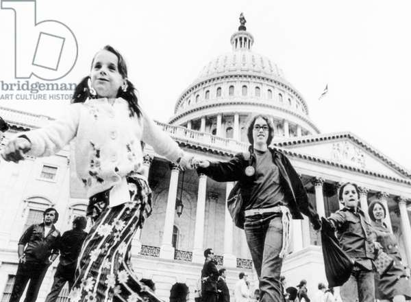 Women and children demonstrate in front of the Capitol against the Vietnam War, Washington DC, June, 22, 1972