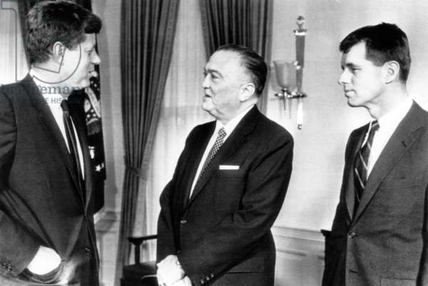President John F. Kennedy, FBI Director J. Edgar Hoover, United States Attorney General Robert Kennedy, February 23, 1961.