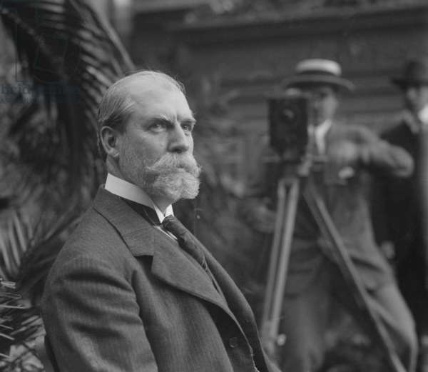 Charles Evans Hughes (1862-1948), posed for photographers on June 12, 1916, two days after his resignation from the Supreme Court. He accepted the Republican Presidential nomination and almost won against incumbent Woodrow Wilson