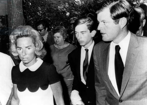 Ethel Kennedy, Robert Kennedy Jr. (answering a summons for being involved in a drug raid), Senator Edward M. Kennedy, at the District Court, Barnstable, Massachusetts, August 6, 1970.