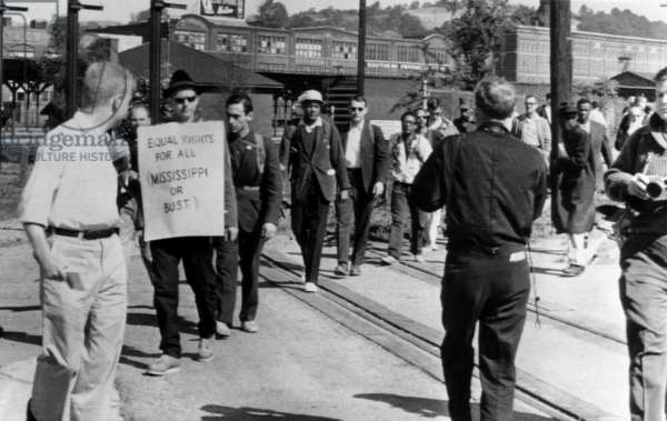 Men in the fight for Civil Rights participate in a memorial trek from Chatanooga, Tennesse to Jackson, Mississipi. They were honoring William Moore, was was killed in a similar walk, 1963