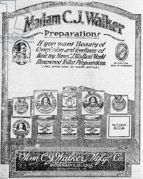 Newspaper ad for Madam C.J. Walker Preparations, 1920