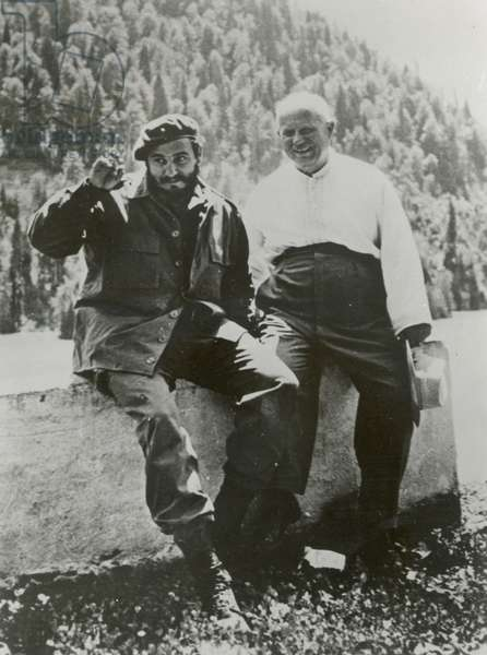 FIDEL CASTRO, Cuban Prime Minister, at Lake Ritsa in the Caucasus with Russian Premier Nikita Khrushchev, after the Cuban Missile Crisis, c. 1962